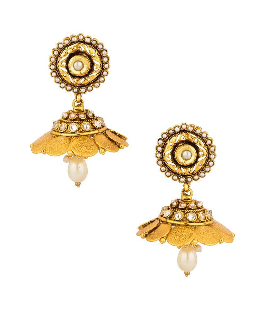 Voylla Glistening Pair Of Jhumki Earrings From Coin Collection With Cz And Pearls