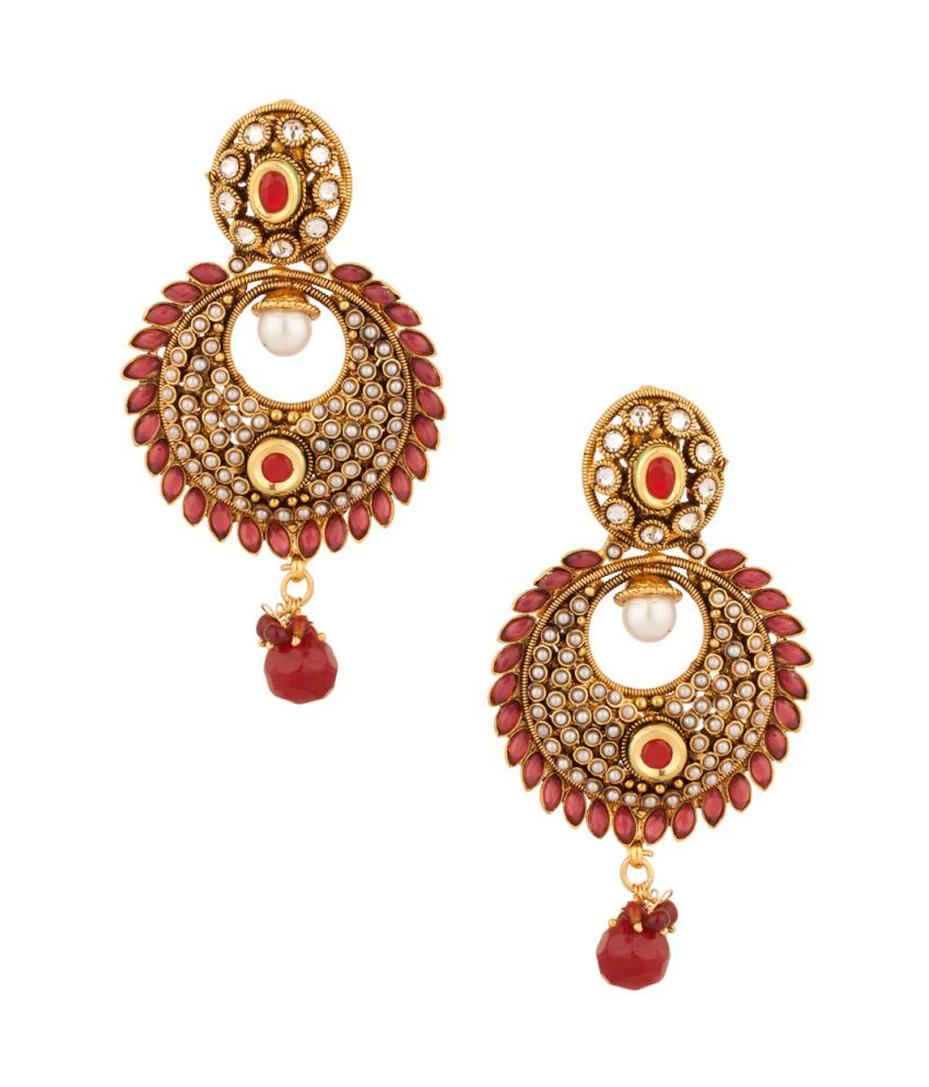 Voylla Luscious Pair Of Earrings With Pearls And Red Color Stones