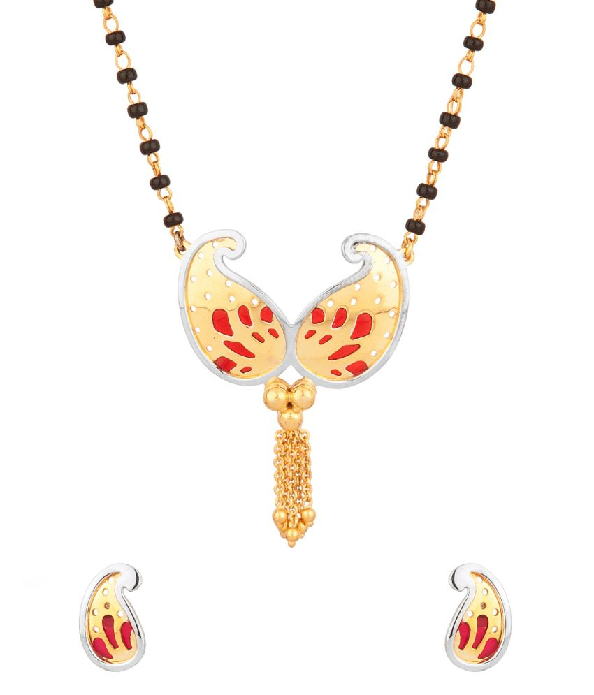 Voylla Mangalsutra Set In Paisley Shape With Red Enamel Work