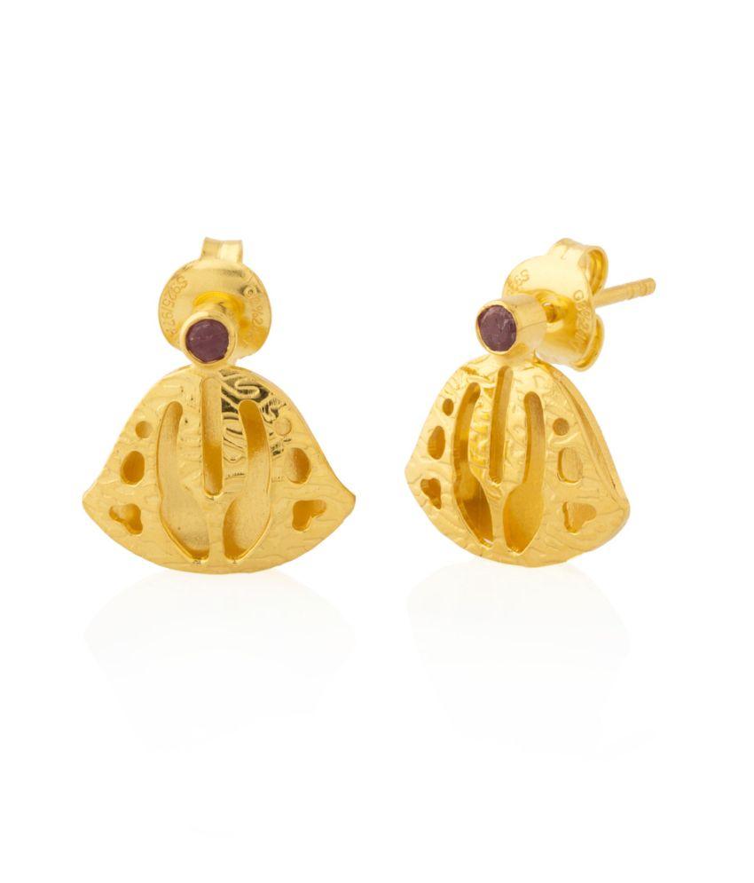 Voylla : Milaan Stud Earrings Encrusted With Little Ruby