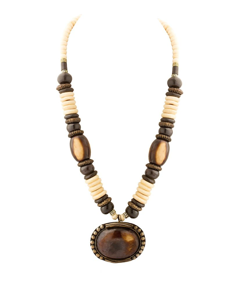 Voylla Necklace In Brown And White Colored Beads