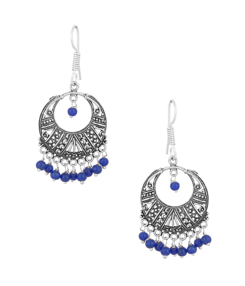 Voylla Oxidized Dangler Earrings Studded With Blue Color Beads