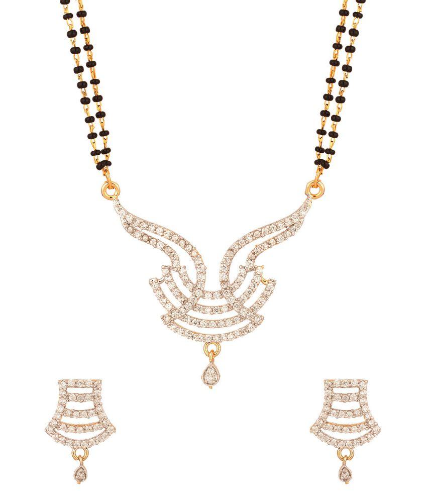 Voylla Splendid Double Chain Mangalsutra Set Embellished With Cz