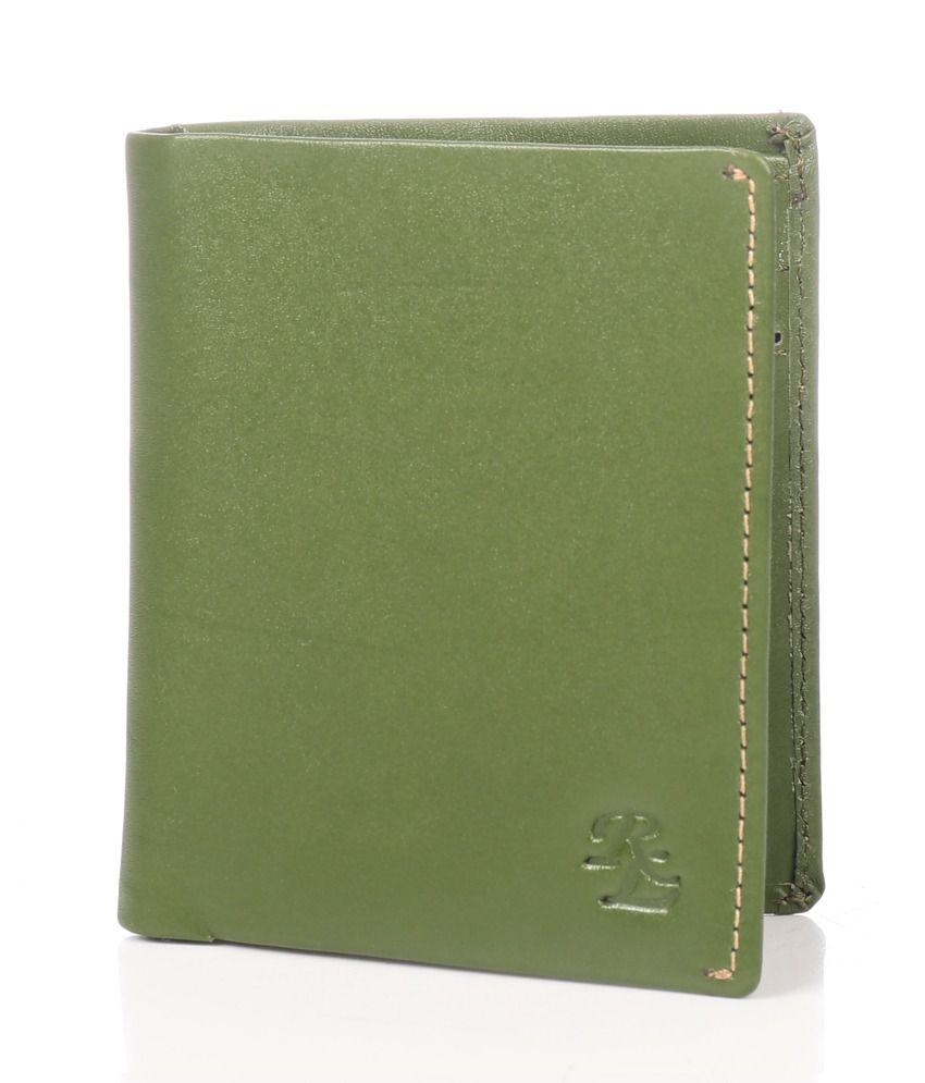 WalletsnBags Leather Green Men Regular Wallet