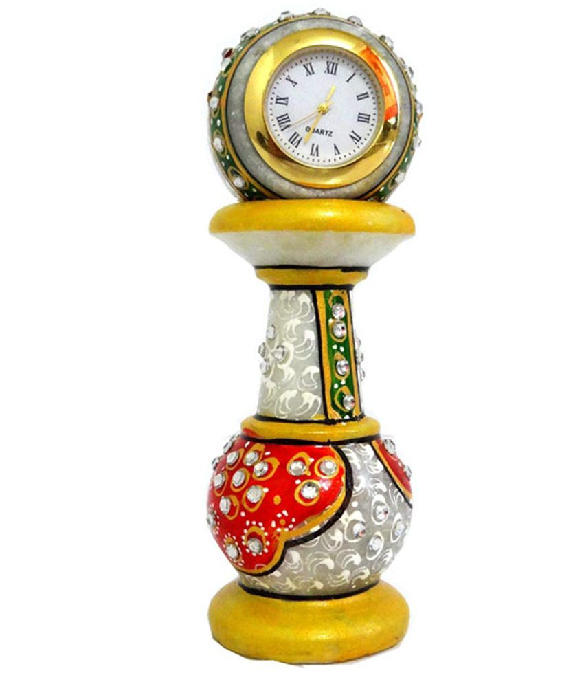 Unique Beautiful Marble Cutting With Stone Color Painting Watch Stand With Small Round Watch