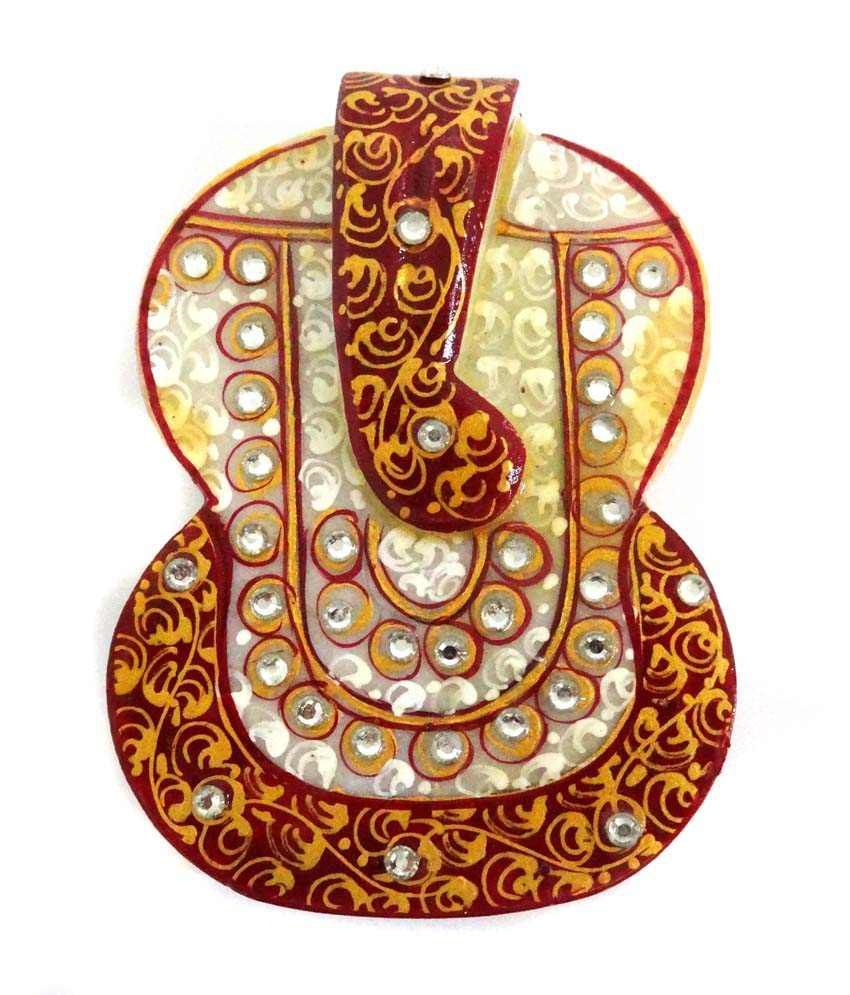 Unique Designer Marble Chopda With Flower Stone Painting And Ganesha Shape