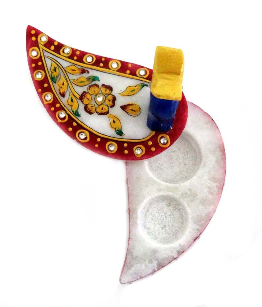 Unique Designer Marble Chopda With Ganesha Stone Painting And Peacock Shape