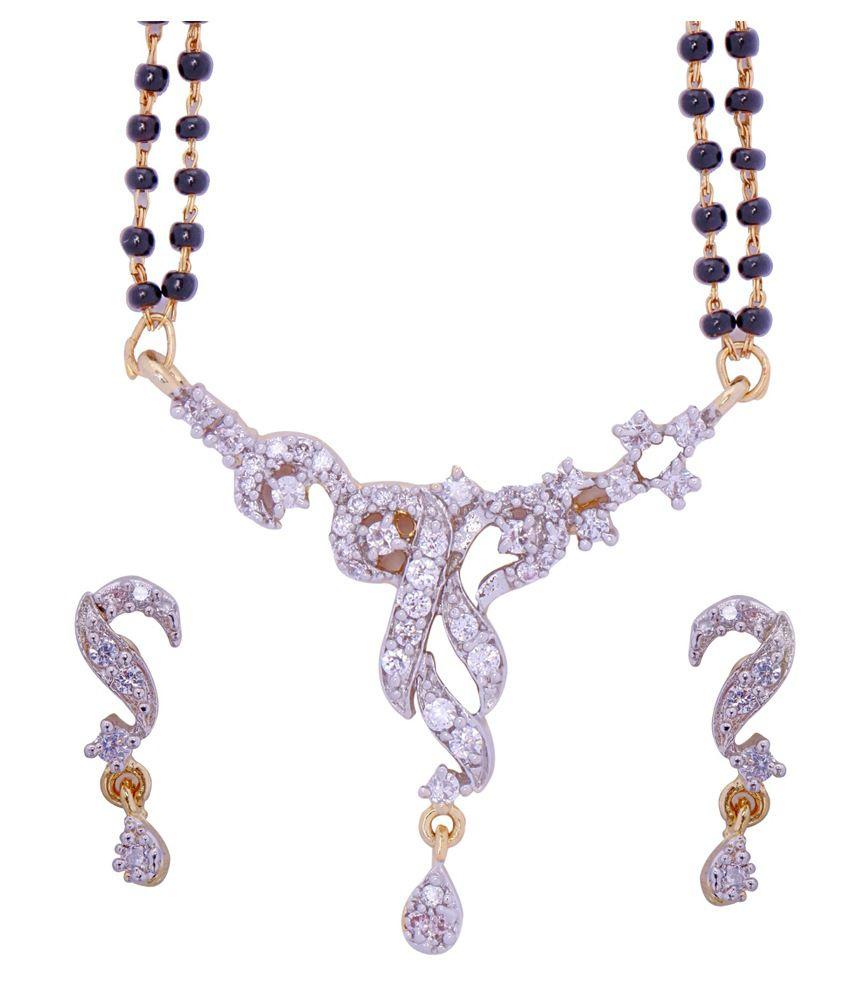 ADITRI CZ Mangalsutra Earrings Set (WHITE GOLD) (MS T M 98)