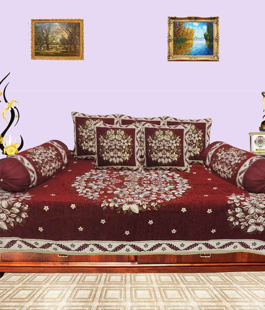 Decor bazaar maroon floral diwan cover set of 8 pcs - A m home decor set ...