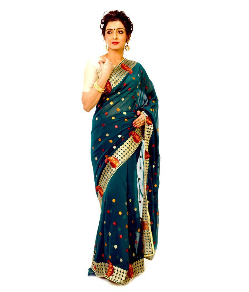 Indian Saree Mandir Printed Designer Georgette Saree