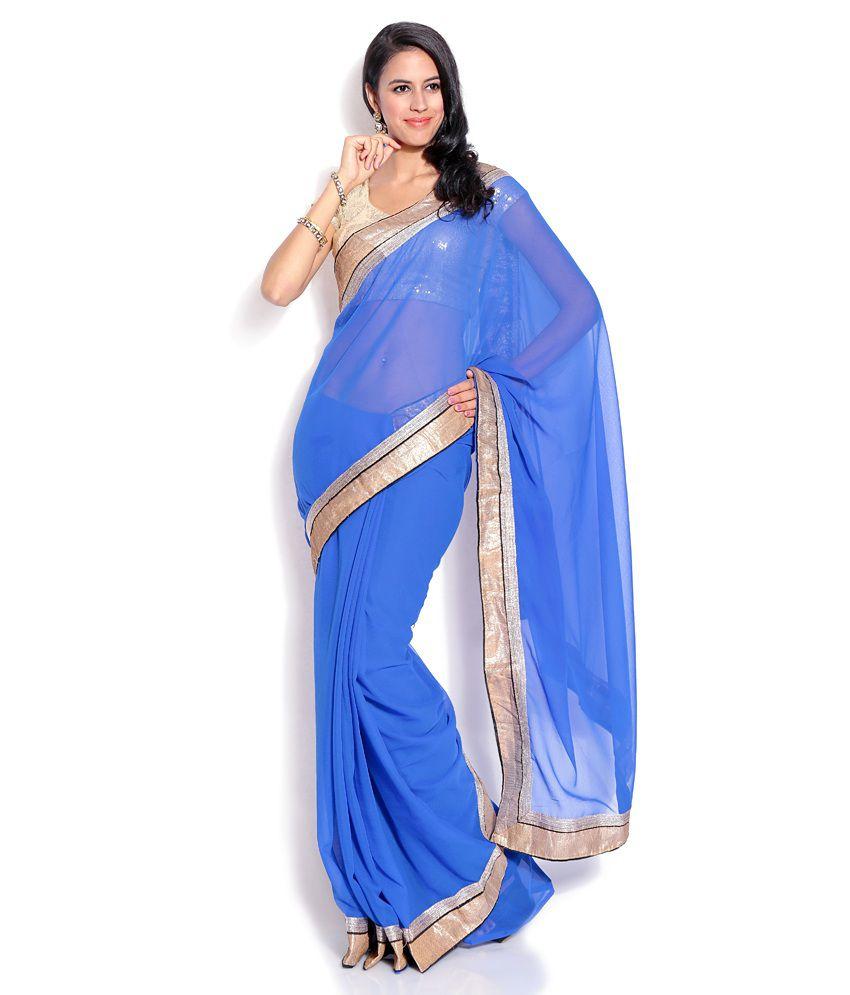 Silkbazar Blue Semi Chiffon Saree