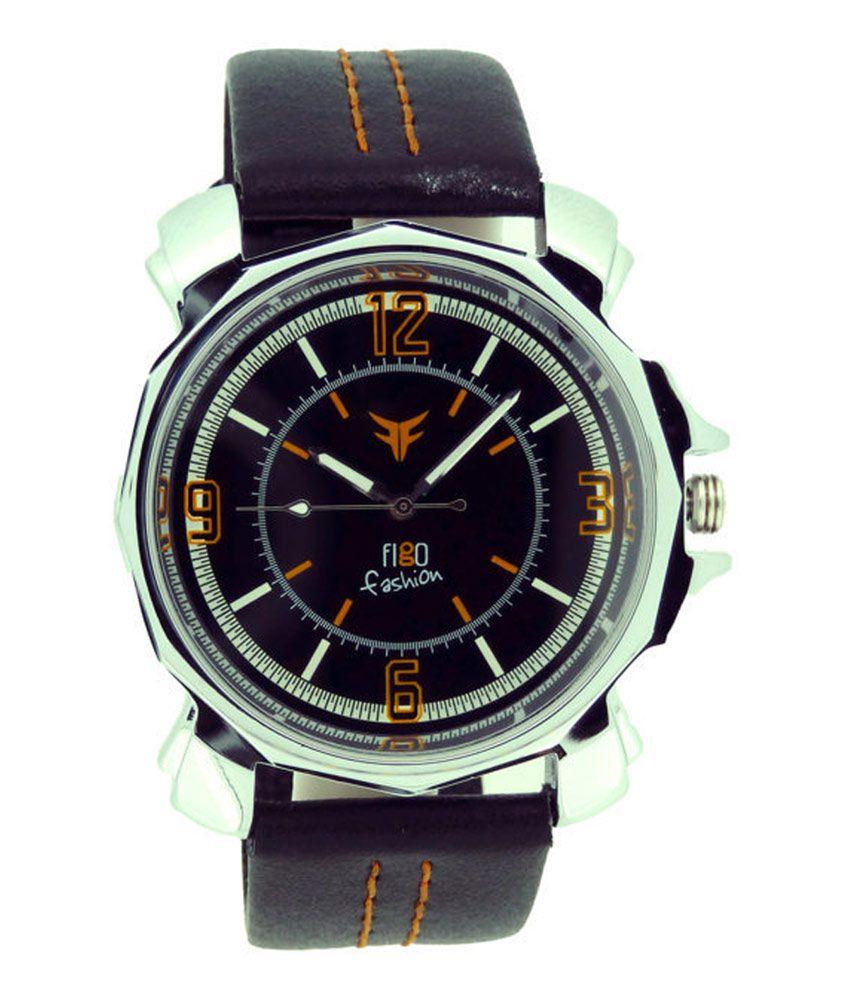 Figo Fashion Plus Gl 018 Orange Analog Round Black Men 39 S Watch Buy Figo Fashion Plus Gl 018