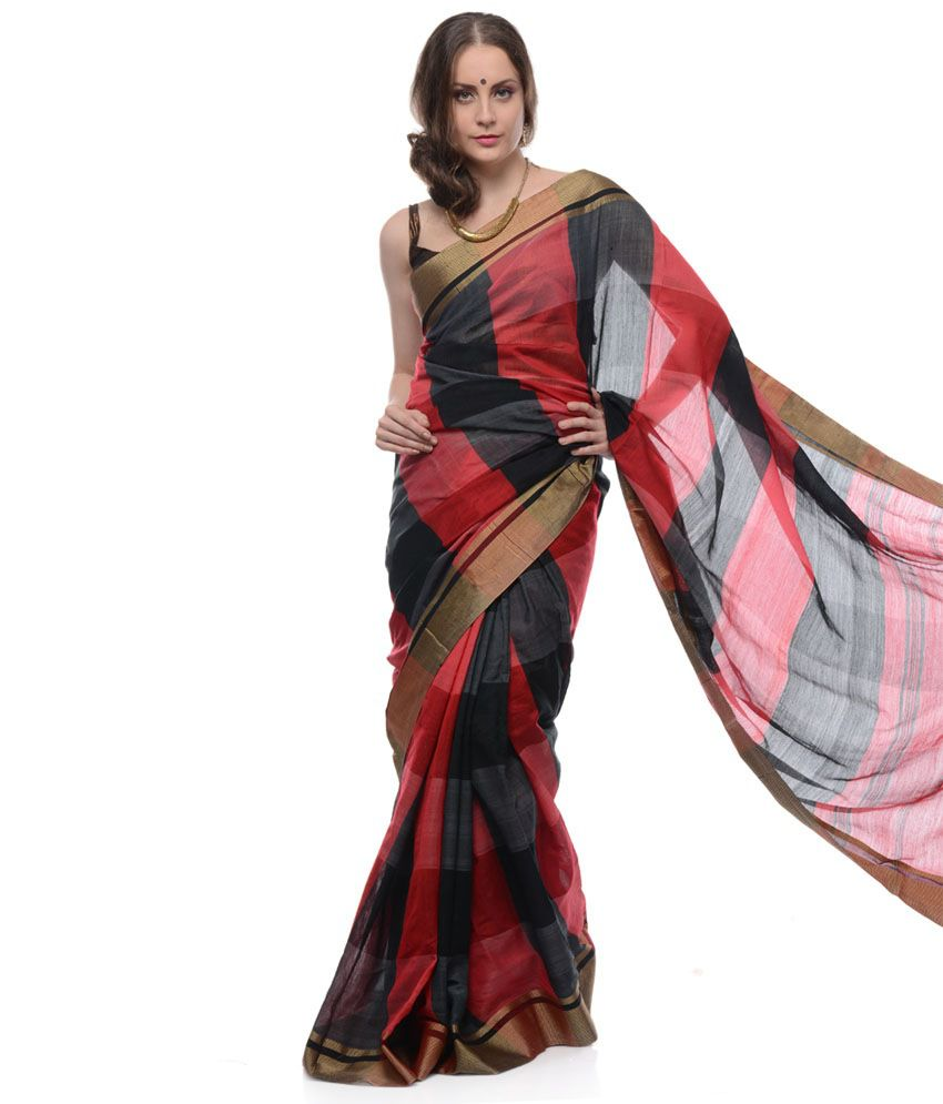 Red Base With Black Bengal Handloom Silk Saree with Blouse