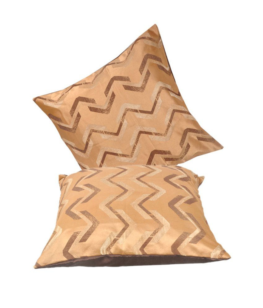 VarEesha Gold & Brown Geometrical Blends Cushion Cover (Set of 2)