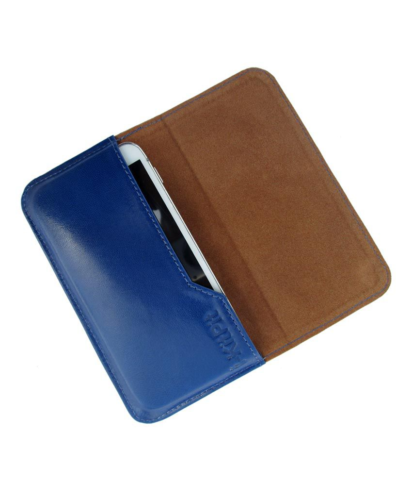 Ikitpit Genuine Leather Flip Pouch Case Cover For Micromax A65 Smarty