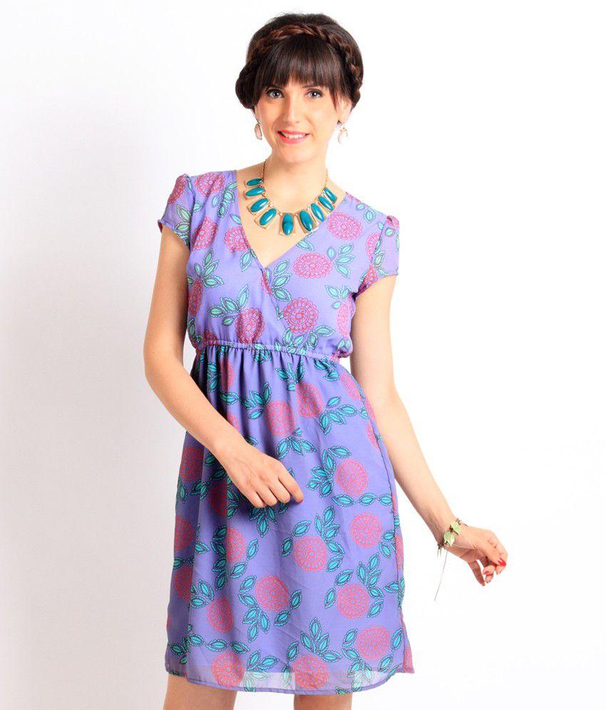 Nun Purple Casual Poly Georgette Medium Dresses