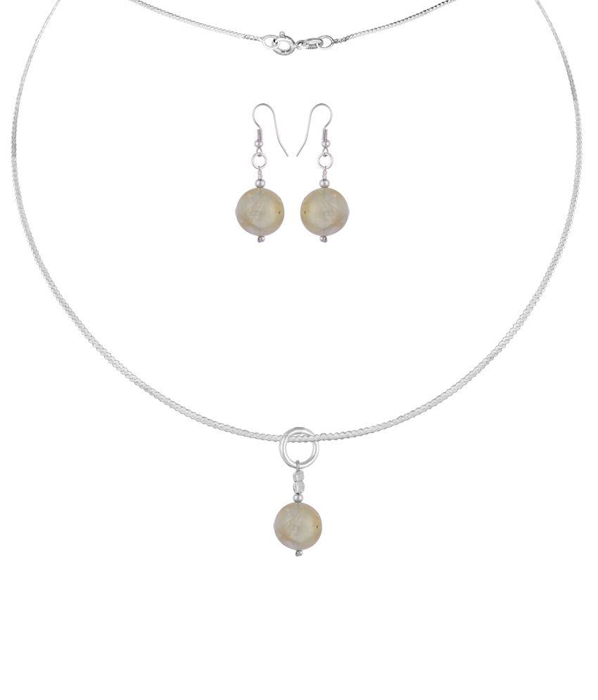 Pearlz Ocean Cana 2.5 Inch Prehnite Beads Pendant Set