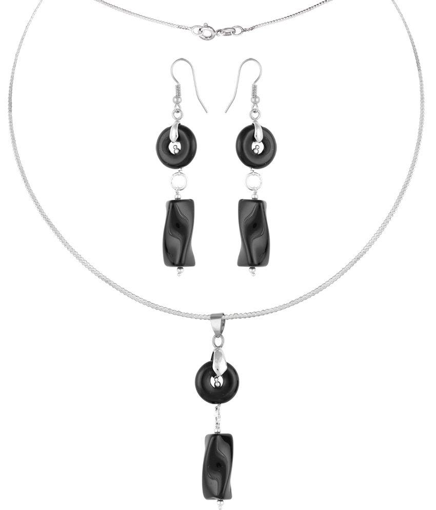 Pearlz Ocean Orin 2.5 Inch Black Obsidian Beads Pendant Set