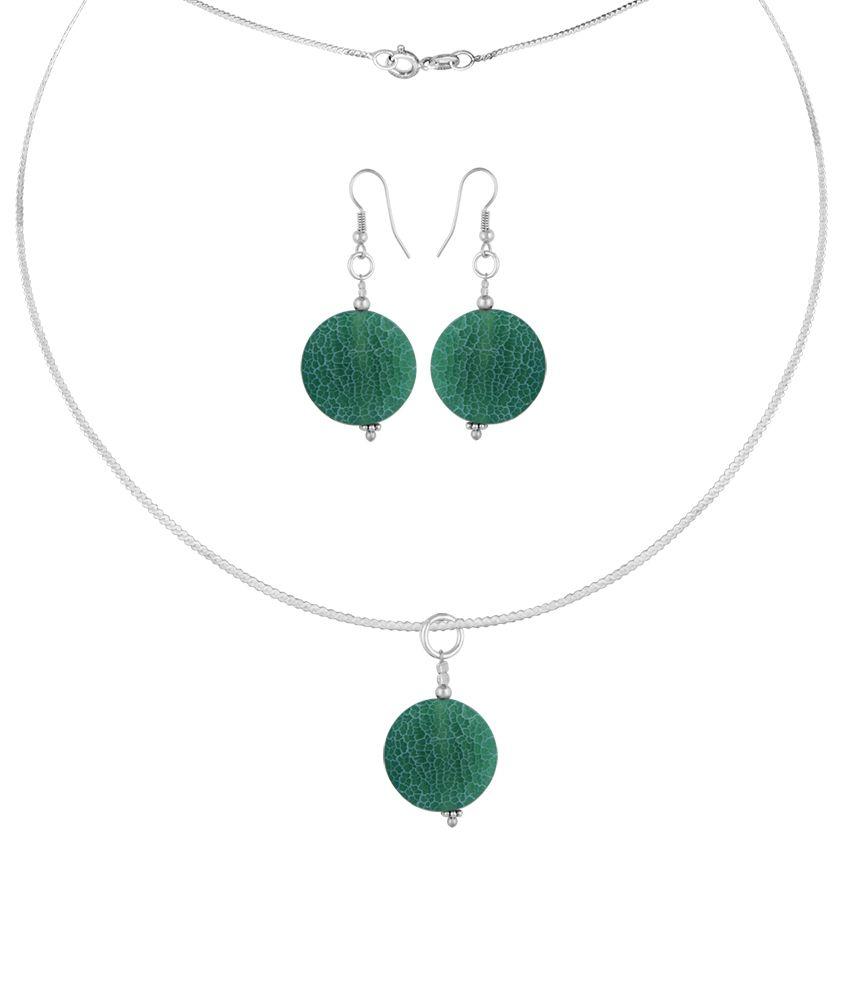 Pearlz Ocean Verdant 2.5 Inch Agate Beads Pendant Set