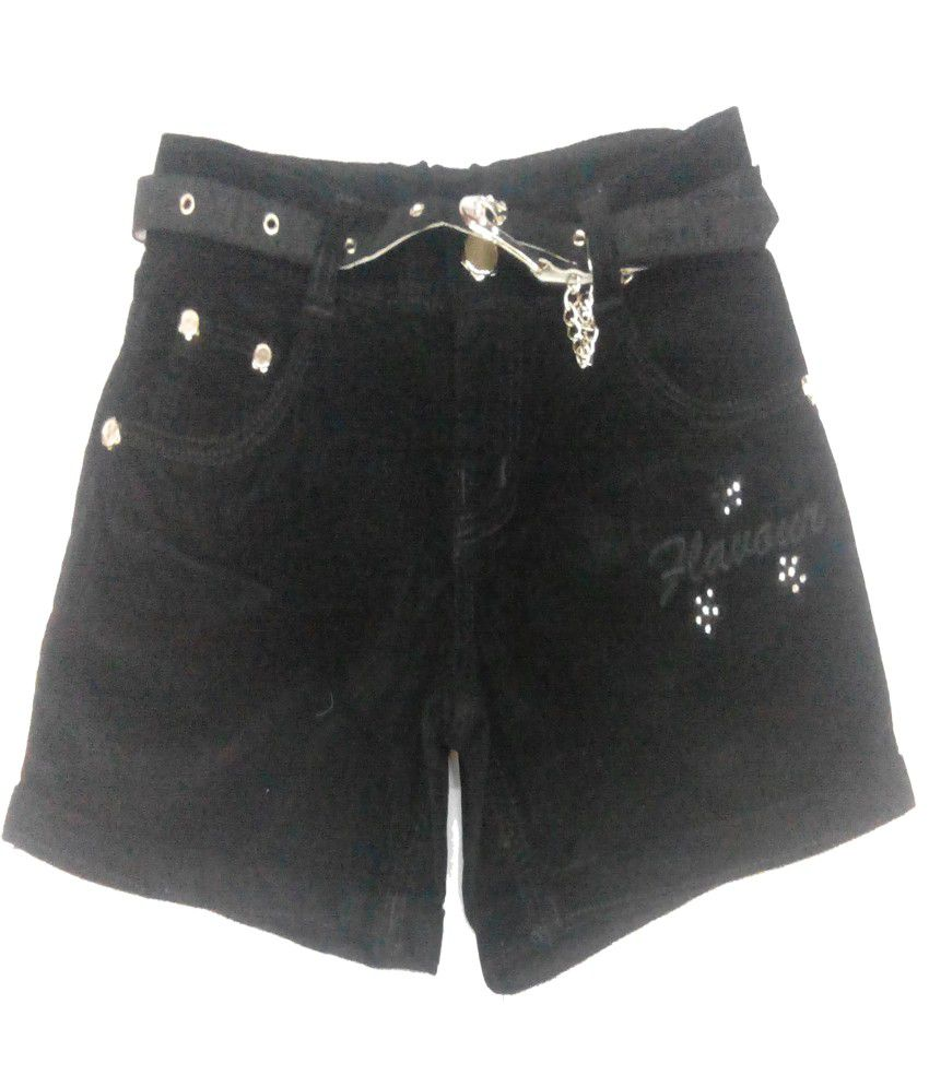 Piggy N Wiggy Black Shorts For Girls