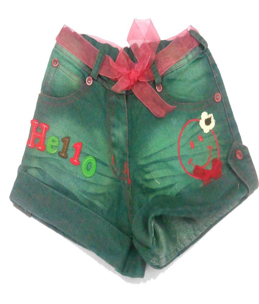 Piggy N Wiggy Green Shorts For Girls