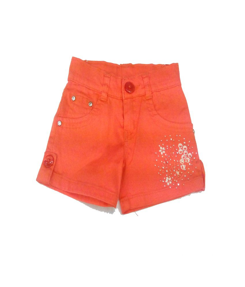 Piggy N Wiggy Orange Shorts For Girls