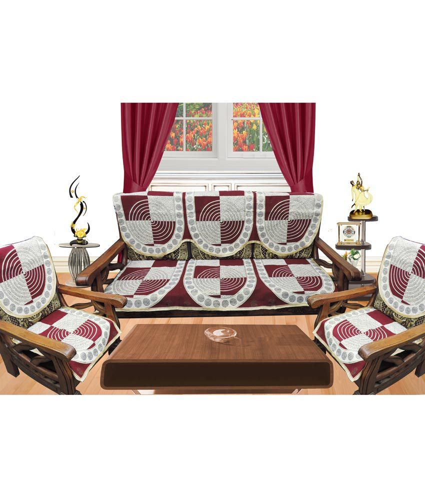 Decor bazaar beige geometrical poly cotton sofa cover for Snapdeal products home kitchen decorations