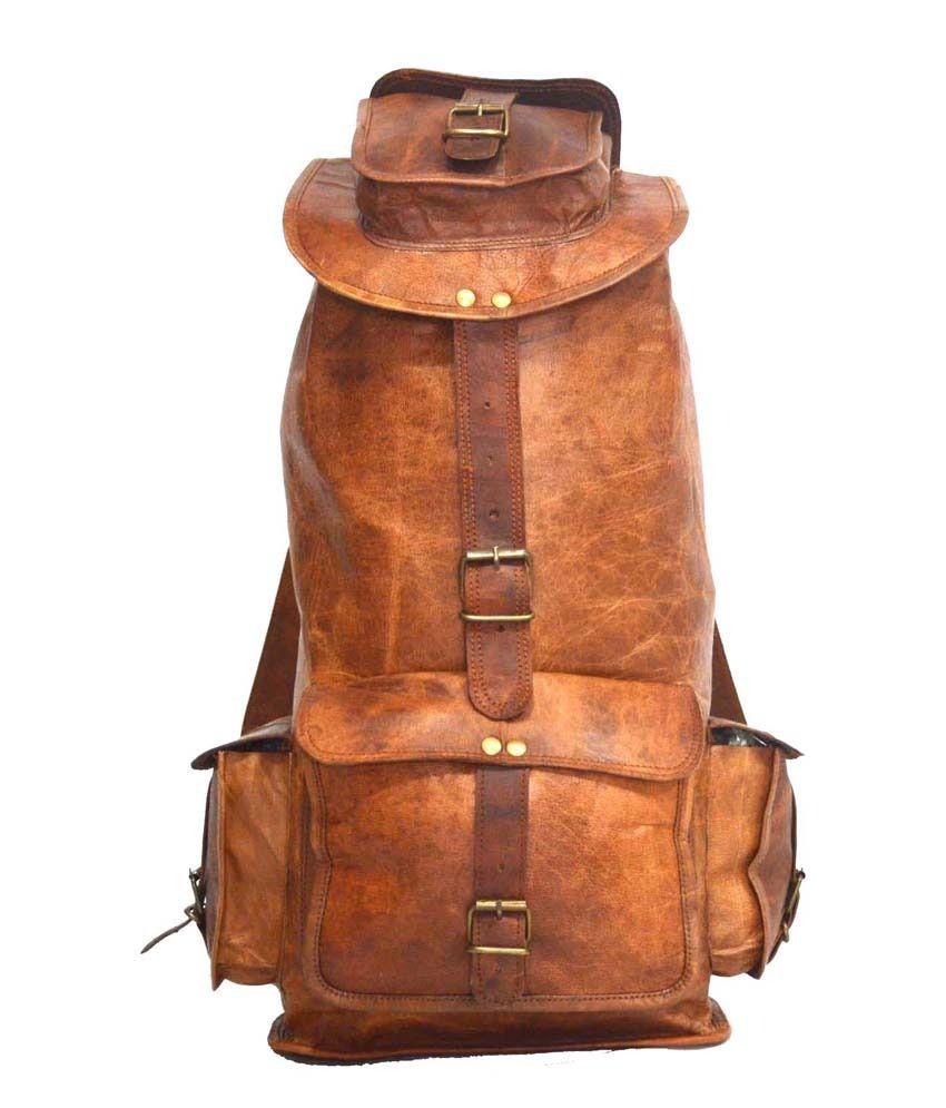 fbc738be2d Digital Rajasthan Vintage Leather Brown Natural Rucksack Backpack - Buy Digital  Rajasthan Vintage Leather Brown Natural Rucksack Backpack Online at Low ...