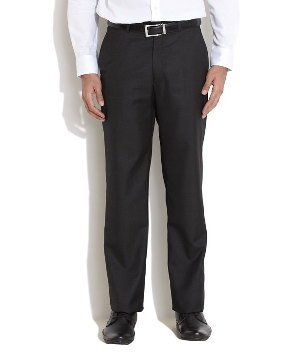 Elitus Black Tonal Checkered Formal Trousers