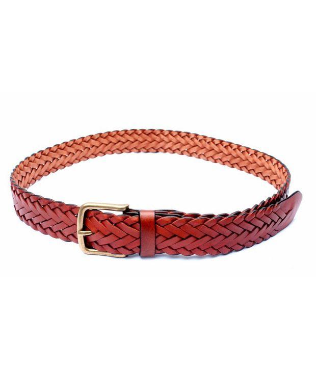 Tops Men Tan Full Knitted Leather Belt Kn 203 Tan 38 Size Belt