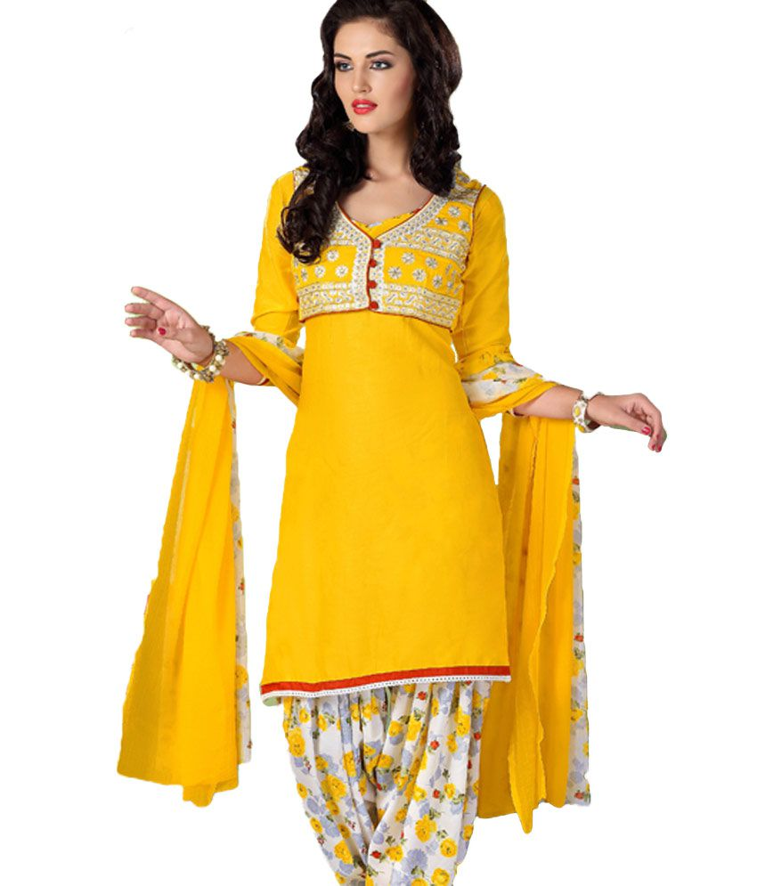 53b5a438a4 ... Suit Set Dress Material - Buy Alicolours Glace Cotton Print With  Embroidery Patiala Suit Set Dress Material Online at Best Prices in India  on Snapdeal
