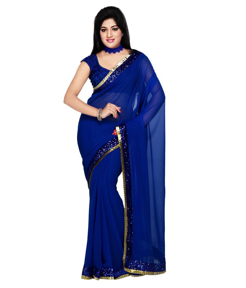 Get Style At Home Blue Faux Georgette Saree