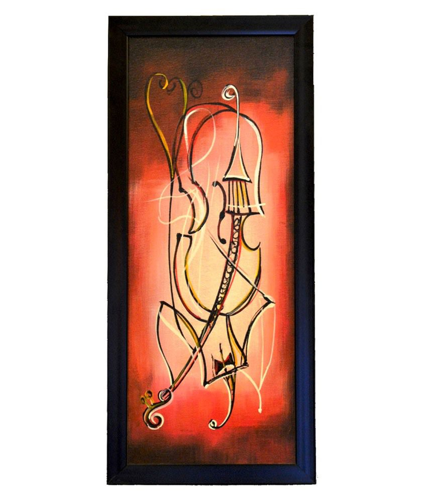 Pebbleyard The Music Scene Brown & Red Canvas Painting Set Of 2