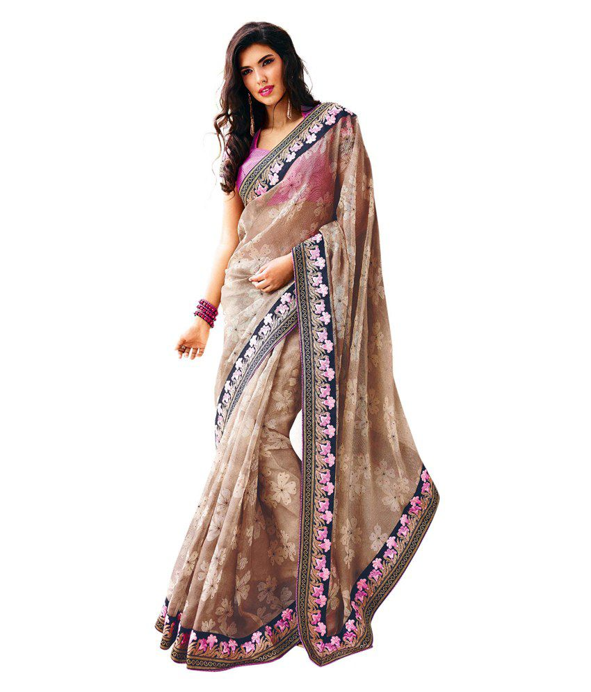 Kalkifashion Gold Jute Saree With Contrast Pink Blouse