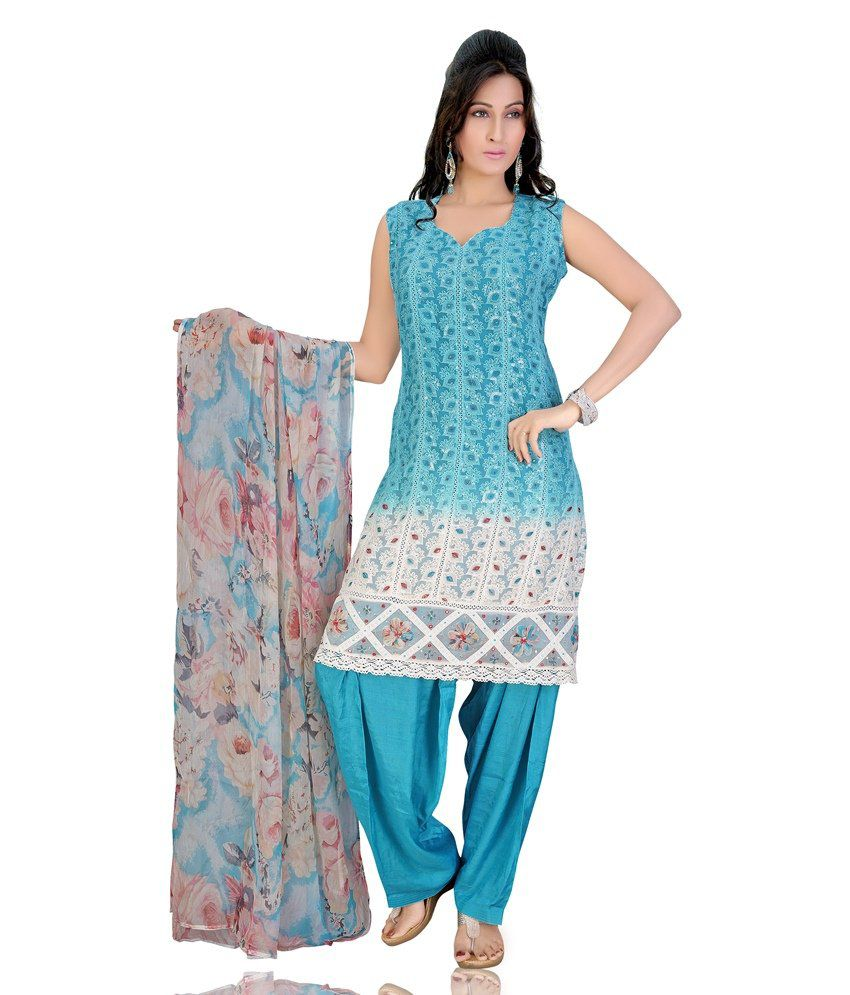 Mint Blue Color Embroidered Chiffon Stitched Salwar Suit