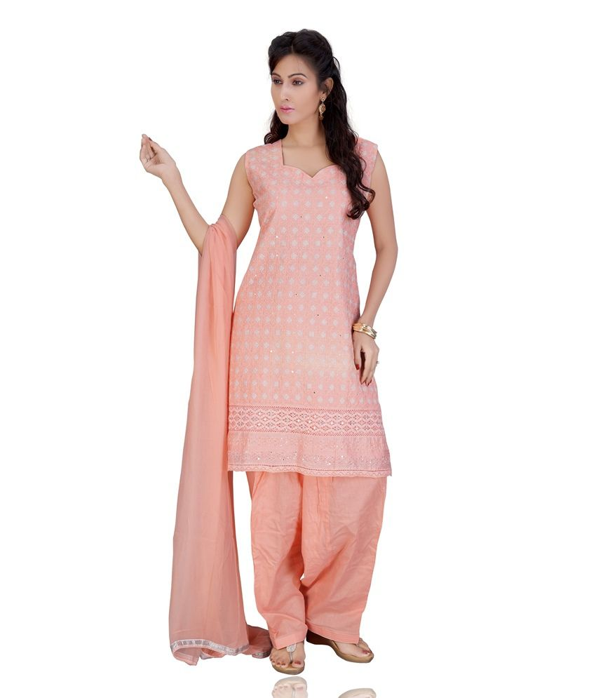 Mint Peachpuff Color Embroidered Cotton Stitched Salwar Suit