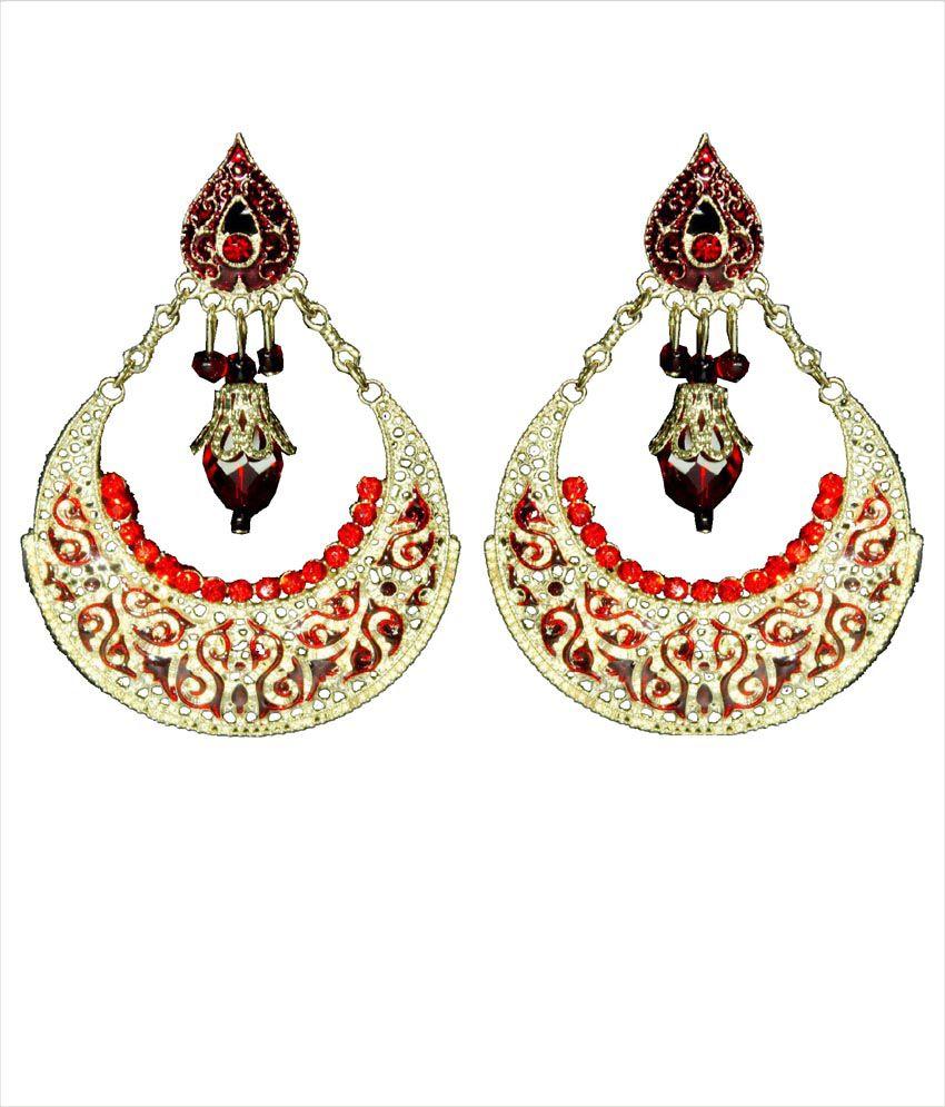 Red Chandelier India: Moda Desire Classic Red Chandelier Earrings