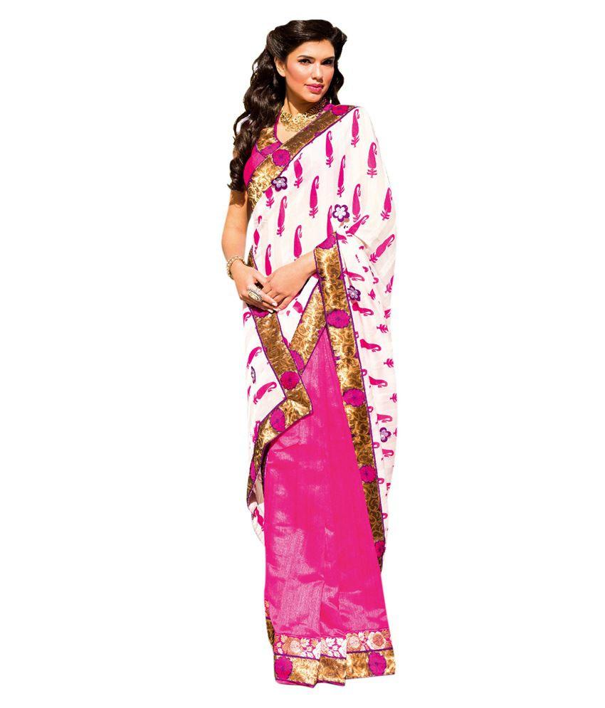 Kalki Fashion Pink Satin Saree