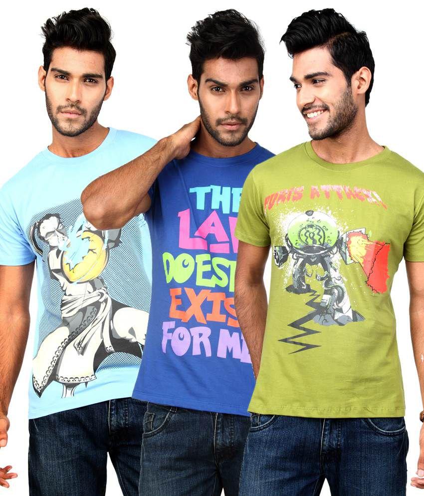Paani Puri Multi Cotton T-shirt Combo Of 3