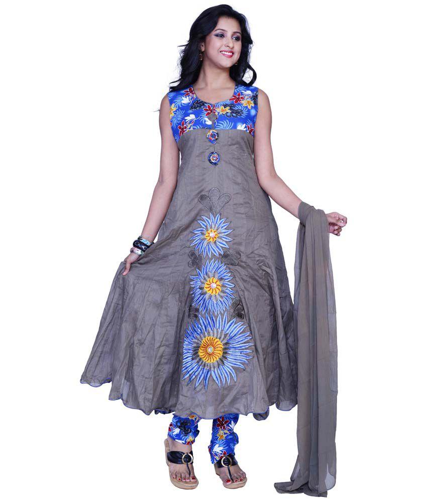 851b8ee645 Sareez Grey And Royal Blue Cotton Embroidered Festival Anarkali Salwar Suit  - Buy Sareez Grey And Royal Blue Cotton Embroidered Festival Anarkali Salwar  ...