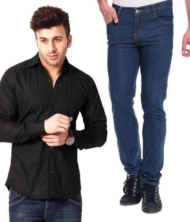 Akaas blue slim jeans with black shirt buy akaas blue for Black shirt blue jeans