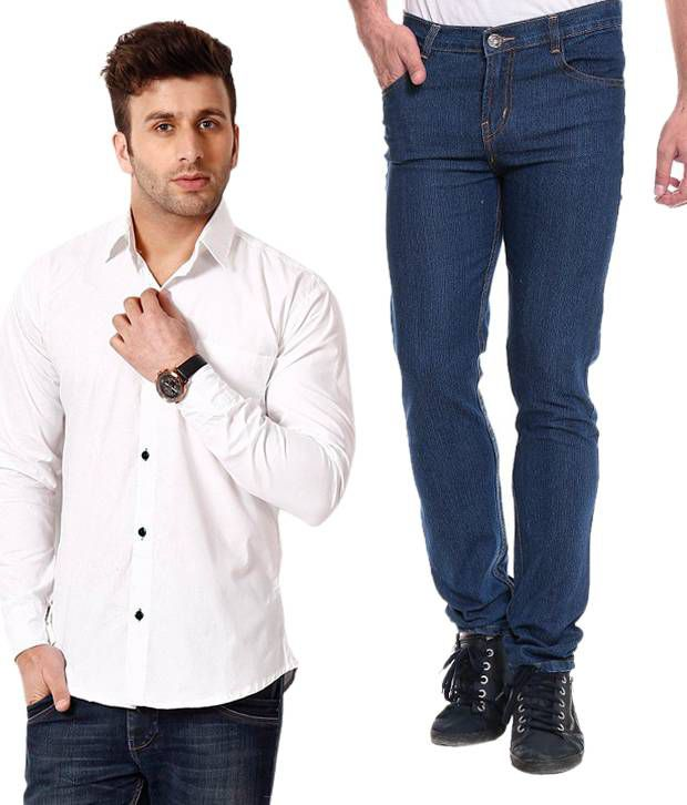 Akaas Blue Slim Jeans With White Shirt