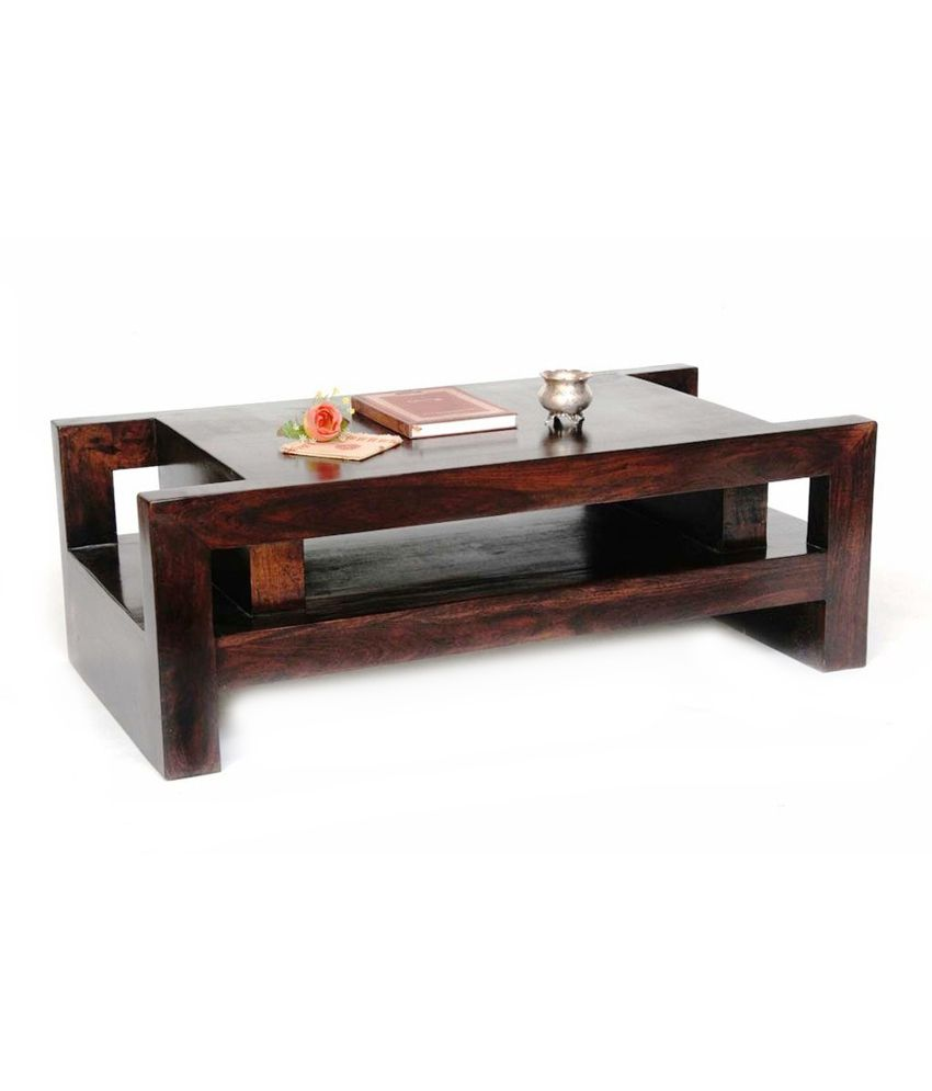 Junglewood Brown Solid Solid Wood Coffee And Center Table