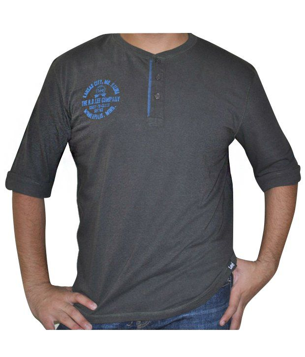 Lee Dark Grey With Two Buttons T-shirt