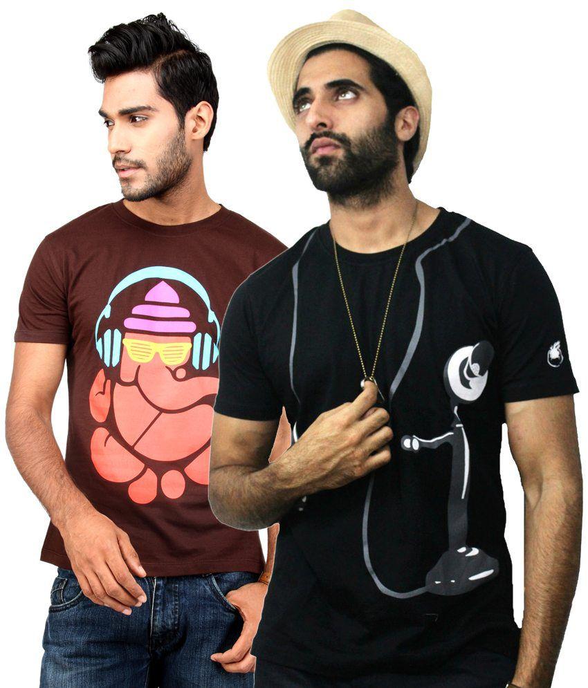 Paani Puri Multi Cotton T-shirt Combo Of 2