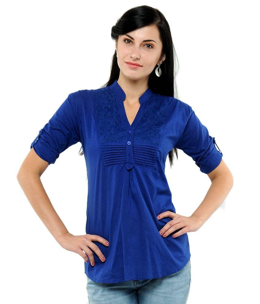U&F Blue Cotton Tops - Buy U&F Blue Cotton Tops Online at ...