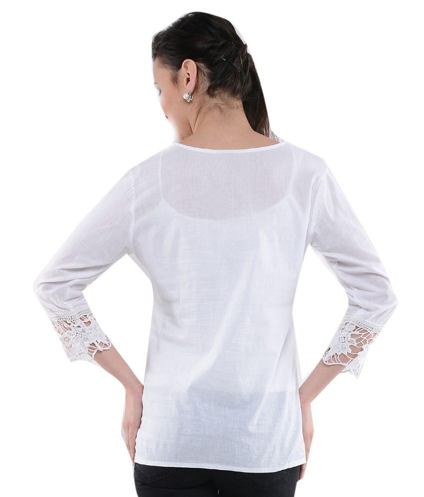 757659425 U F White Cotton Tops - Buy U F White Cotton Tops Online at Best ...