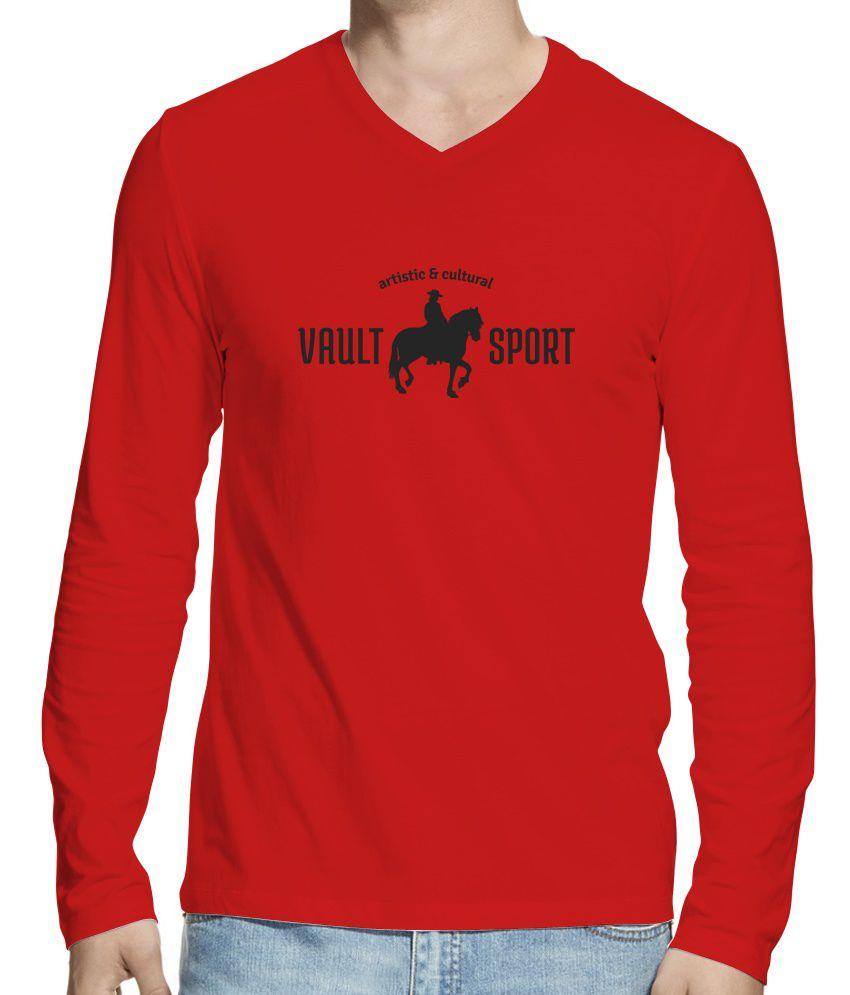 Hueman Red Cotton Printed Full Sleeves V-neck T-shirt