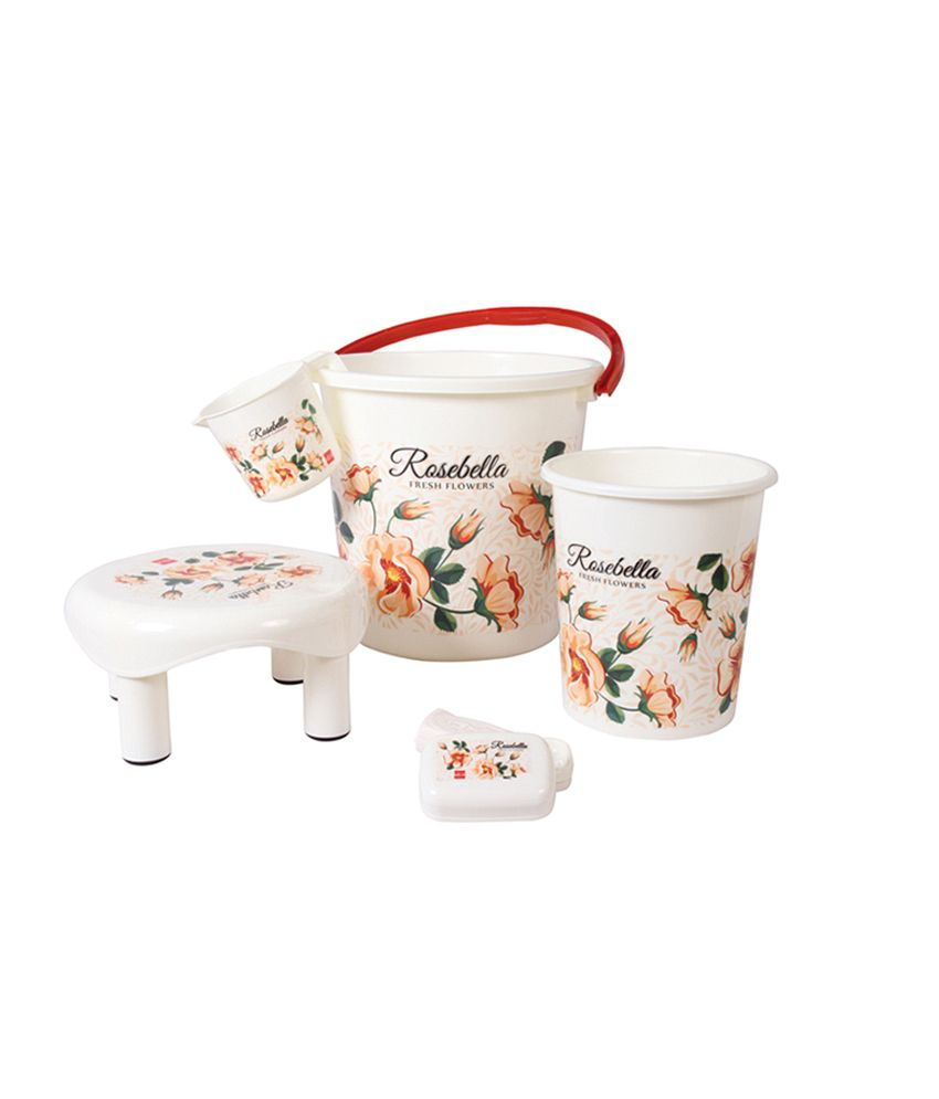 Plastic bathroom sets - Ruchi Houseware White Plastic Printed Bathroom Set 5 Pieces