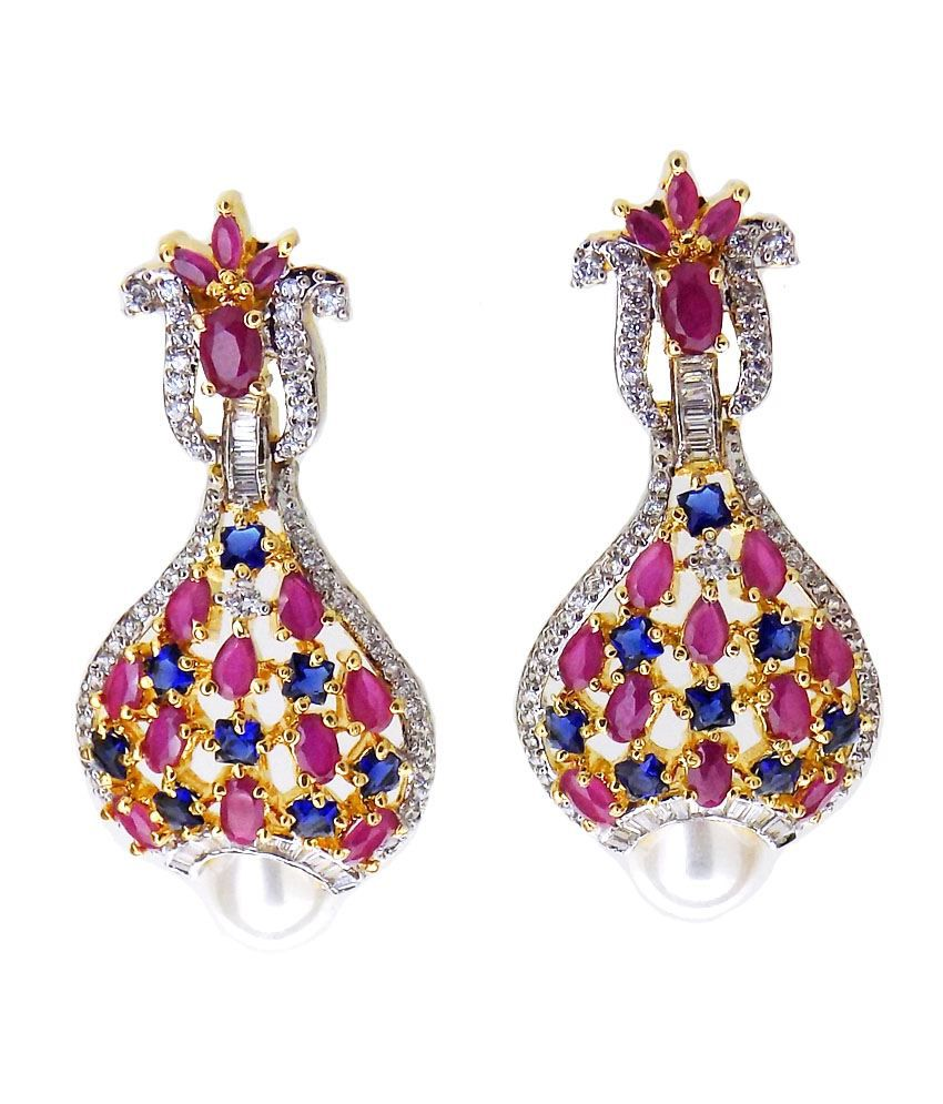 Aabhushan Jewels Gold Plated Multi Stone Look American Diamond Earrings For Women
